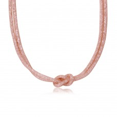 Wholesale Sterling Silver 925 Rose Gold Plated Mesh with Crystals Stones Necklace - ECN00010R
