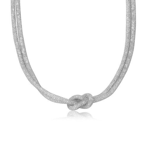 Wholesale Sterling Silver 925 Rhodium Plated Mesh with Crystals Stones Necklace - ECN00010RH