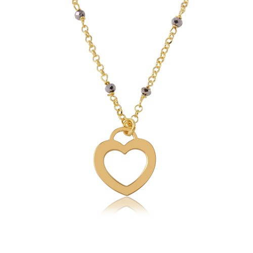 Wholesale Sterling Silver 925 Gold Plated Black DC Beads Chain with Open Heart - ECN00023GP