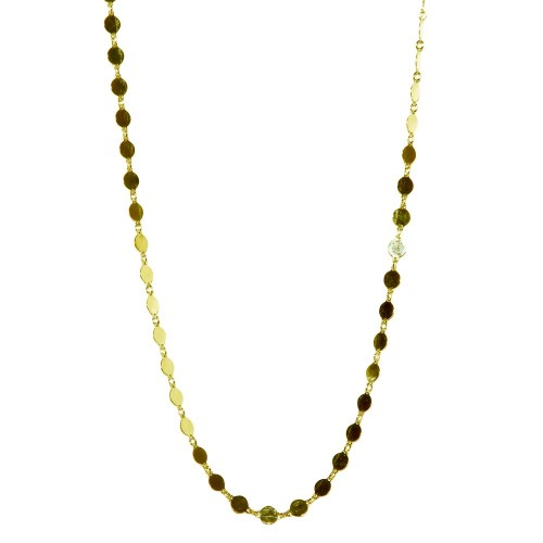 Wholesale Sterling Silver 925 Gold Plated Flat Circle Necklace - ECN00024GP