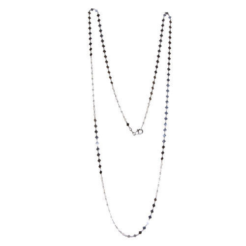 Wholesale Sterling Silver 925 Rhodium Plated Flat Diamond Square Necklace - ECN00025RH