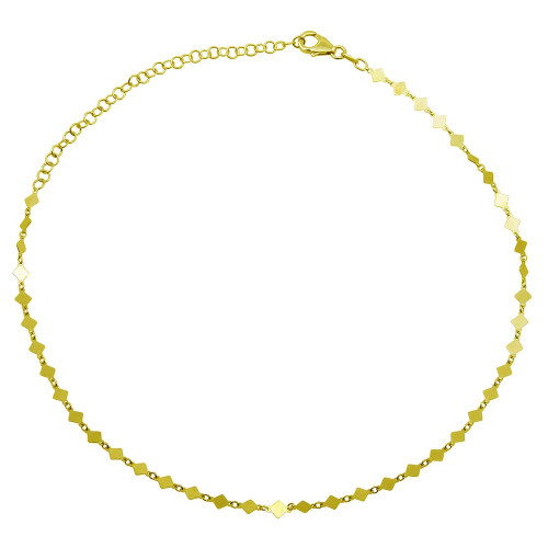 Wholesale Sterling Silver 925 Gold Plated Flat Diamond Square Choker Necklace - ECN00026GP