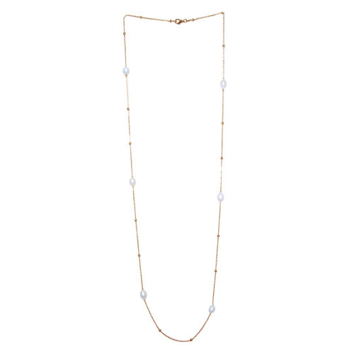 Wholesale Sterling Silver 925 Gold Plated Necklace with Freshwater Pearls and Beads - ECN00028GP