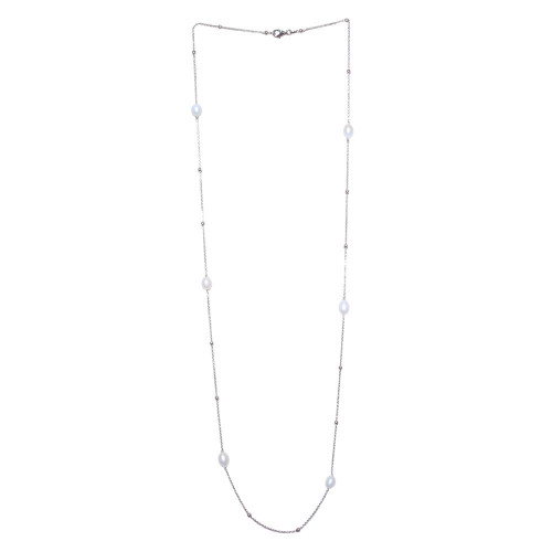Wholesale Sterling Silver 925 Rhodium Plated Necklace with Freshwater Pearls and Beads - ECN00028RH