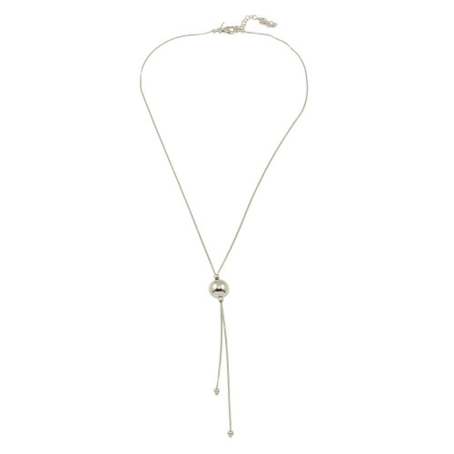 Wholesale Sterling Silver 925 Rhodium Plated Bead Necklace with Dangling Chains - ECN00029RH