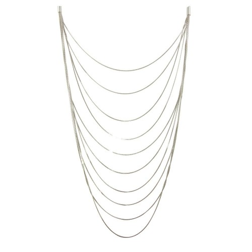 Wholesale Sterling Silver 925 Rhodium Plated Multiple Chain Necklace - ECN00031RH