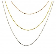 Wholesale Sterling Silver 925 Tricolor 3 Chain Necklace - ECN00032