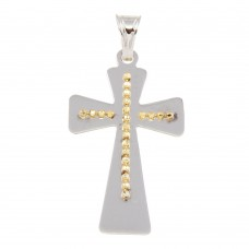 Sterling Silver Two Tone Large Cross Pendant - ECP00010RH/GP