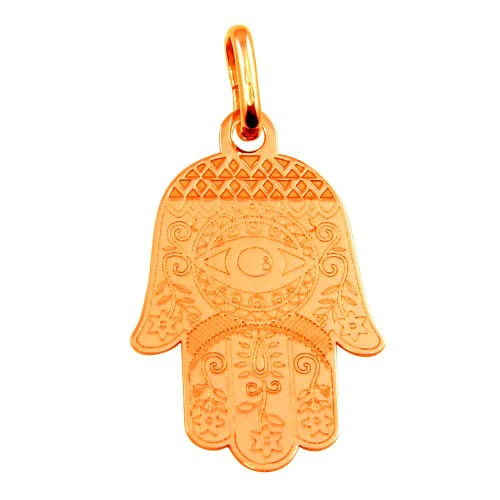 Wholesale Sterling Silver 925 Rose Gold Plated Small Hamsa Pendant - ECP00007RGP