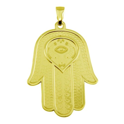 Wholesale Sterling Silver 925 Gold Plated Large Hamsa Pendant - ECP00008GP