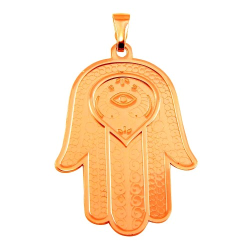Wholesale Sterling Silver 925 Rose Gold Plated Large Hamsa Pendant - ECP00008RGP