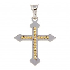 Wholesale Sterling Silver 925 Two Tone Medium Cross Pendant - ECP00009RH-GP