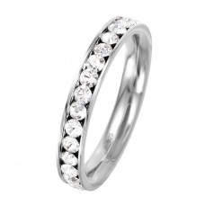 Wholesale Sterling Silver 925 Rhodium Plated Birthstone April Channel Eternity Band - ETRY-APR