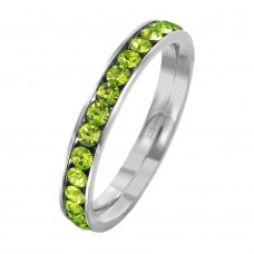 Wholesale Sterling Silver 925 Rhodium Plated Birthstone August Channel Eternity Band - ETRY-AUG