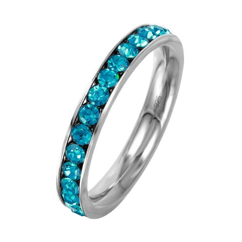 Wholesale Sterling Silver 925 Rhodium Plated Birthstone December Channel Eternity Band - ETRY-DEC