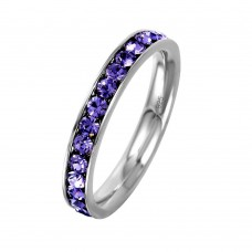 Wholesale Sterling Silver 925 Rhodium Plated Birthstone February Channel Eternity Band - ETRY-FEB