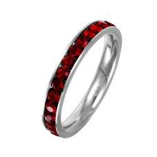 Wholesale Sterling Silver 925 Rhodium Plated Birthstone January Channel Eternity Band - ETRY-JAN