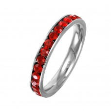 Wholesale Sterling Silver 925 Rhodium Plated Birthstone July Channel Eternity Band - ETRY-JUL
