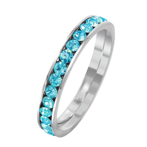 Wholesale Sterling Silver 925 Rhodium Plated Birthstone March Channel Eternity Band - ETRY-MAR