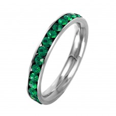Wholesale Sterling Silver 925 Rhodium Plated Birthstone May Channel Eternity Band - ETRY-MAY
