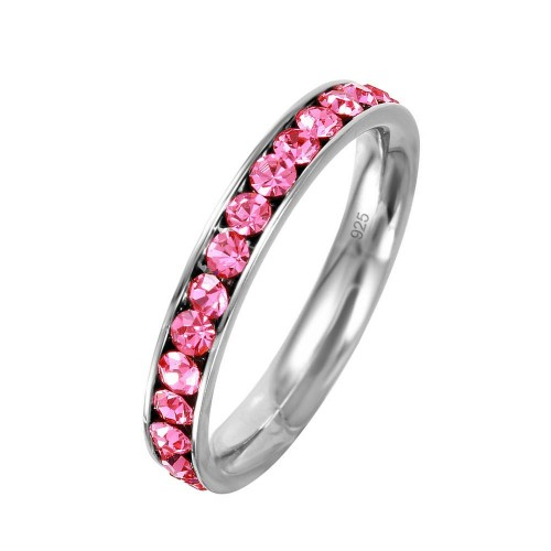 Wholesale Sterling Silver 925 Rhodium Plated Birthstone October Channel Eternity Band - ETRY-OCT