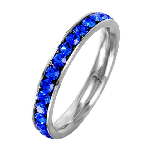 Wholesale Sterling Silver 925 Rhodium Plated Birthstone September Channel Eternity Band - ETRY-SEP