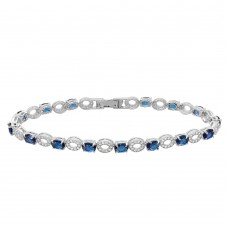Sterling Silver Rhodium Plated Interval Blue CZ Stones Tennis Bracelet - GMB00024SEP