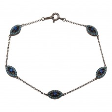 Wholesale Sterling Silver 925 Black Rhodium Multiple Evil Eye Bracelet - GMB00027BLK-T