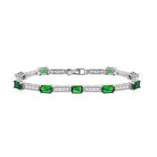 Sterling Silver Rhodium Plated Multi Square Clear and Green CZ Tennis Bracelet - GMB00032RH-GREEN