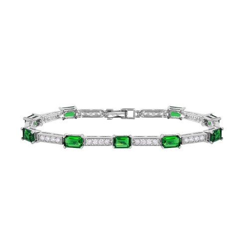 Wholesale Sterling Silver 925 Rhodium Plated Multi Square Clear and Green CZ Tennis Bracelet - GMB00032RH-GREEN