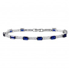 Sterling Silver Rhodium Plated Multi Square Clear and Blue CZ Tennis Bracelet - GMB00032RH-SEP
