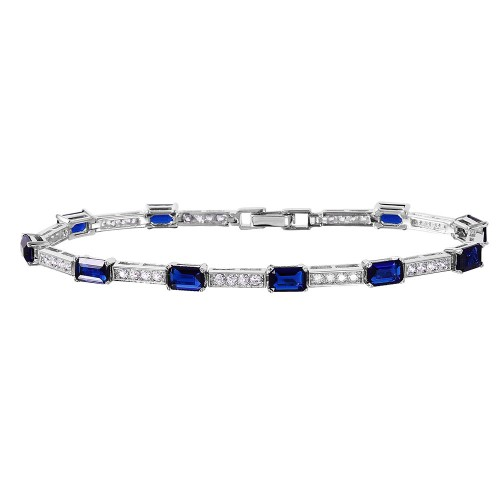 Wholesale Sterling Silver 925 Rhodium Plated Multi Square Clear and Blue CZ Tennis Bracelet - GMB00032RH-SEP