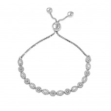 Wholesale Sterling Silver 925 Rhodium Plated Multi Shape Micro Pave Lariat Bracelet - GMB00033