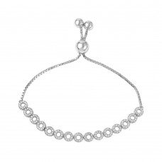 Wholesale Sterling Silver 925 Rhodium Plated Bubble Bracelet with Bead Lariat Lock - GMB00035