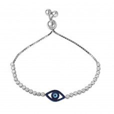 Wholesale Sterling Silver 925 Rhodium Plated Blue CZ Evil Eye Bracelet - GMB00038B-S