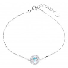 Wholesale Sterling Silver 925 Rhodium Plated Bracelet with CZ Encrusted Cross Disc - GMB00040