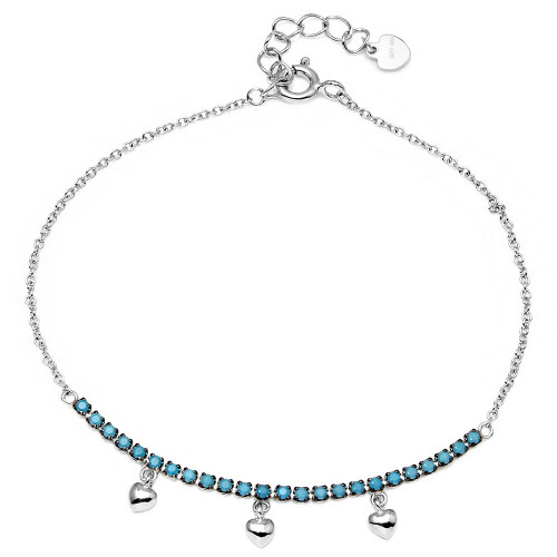Wholesale Sterling Silver 925 Rhodium Plated Turquoise Stones with Hanging Hearts Bracelet - GMB00041BLK-T
