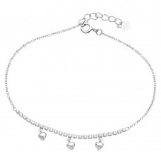 Wholesale Sterling Silver 925 Rhodium Plated CZ Bar with Hanging Hearts - GMB00041RH