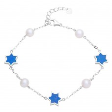 Wholesale Sterling Silver 925 Rhodium Plated Fresh Water Mother of Pearl with Blue Enamel Star Bracelet - GMB00043RH