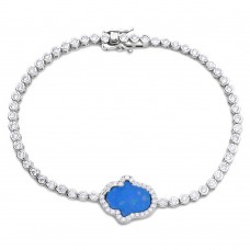 Wholesale Sterling Silver 925 Rhodium Plated Round CZ Tennis Bracelet with Blue Enamel Hamsa - GMB00045RH