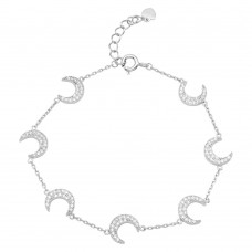 Wholesale Sterling Silver 925 Rhodium Plated Multiple CZ Crescent Bracelet - GMB00047RH