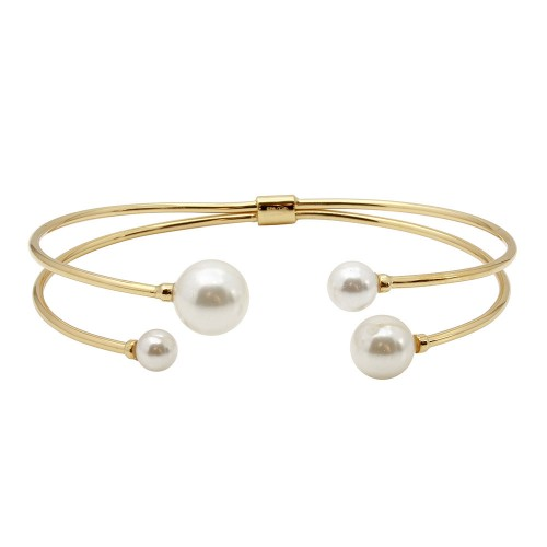 Wholesale Sterling Silver 925 Gold Plated Water Pearl Bangle Bracelet - GMB00049GP