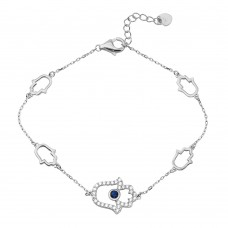 Wholesale Sterling Silver 925 Rhodium Plated Multiple Hamsa CZ Bracelet - GMB00050RH