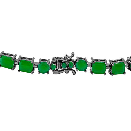 Wholesale Sterling Sterling 925 Black Rhodium Plated Green Synthetic Rectangle and Oval CZ Bracelet - GMB00051BLK-GREEN