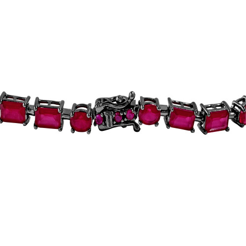 Wholesale Sterling Sterling 925 Black Rhodium Plated Red Synthetic Rectangle and Oval CZ Bracelet - GMB00051BLK-RED