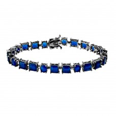 Wholesale Sterling Sterling 925 Black Rhodium Plated Blue Synthetic Rectangle and Oval CZ Bracelet - GMB00051BLK-SEP
