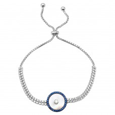 Wholesale Sterling Silver 925 Rhodium Plated MOP Evil Eye CZ Lariat Bracelet - GMB00052RB