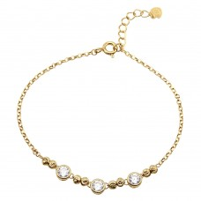 Sterling Silver Gold Plated Beaded 3 Stones Link Bracelet - GMB00053GP