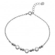 Wholesale Sterling Silver 925 Rhodium Plated Beaded 3 Stones Link Bracelet - GMB00053RH