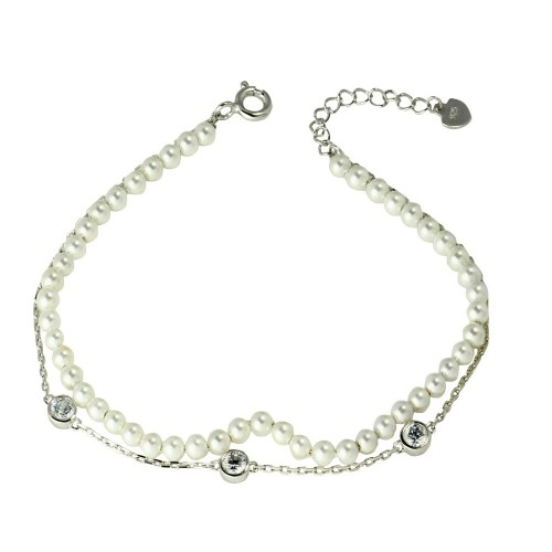 Wholesale Sterling Silver 925 Rhodium Plated Double Strand Synthetic Pearl with CZ - GMB00054RH